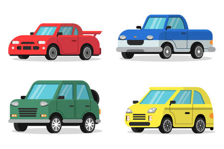 Illustration for Flat illustrations of cars in orthogonal projection - Royalty Free Image