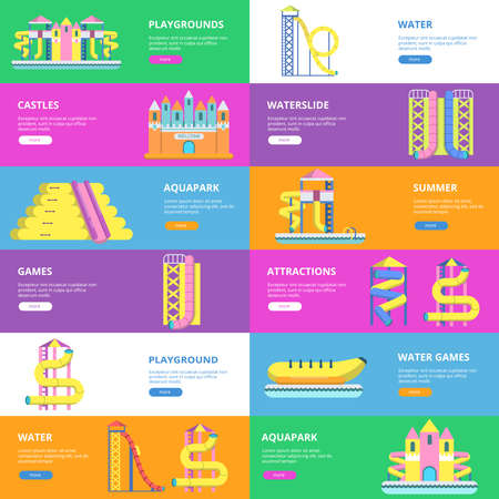 Illustration pour Horizontal banners with pictures of tools for water park and childrens playground - image libre de droit