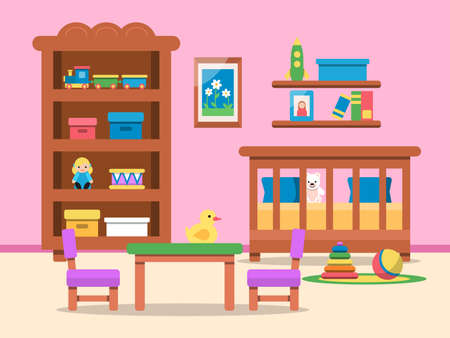Illustration for Vector picture of kids room interior. Bed, table and various toys - Royalty Free Image