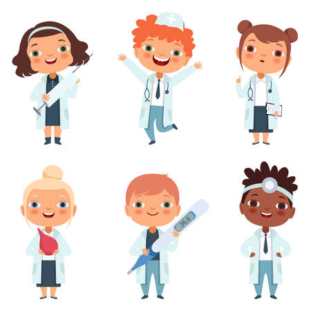 Illustration for Doctor profession. Childrens in different poses - Royalty Free Image