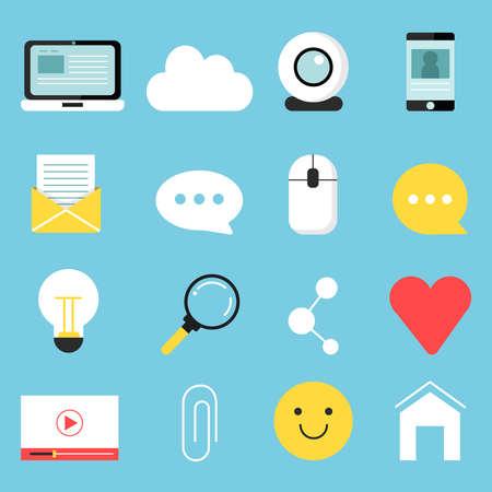 Illustration pour Web icons set of various symbols for blogging and broadcasting - image libre de droit