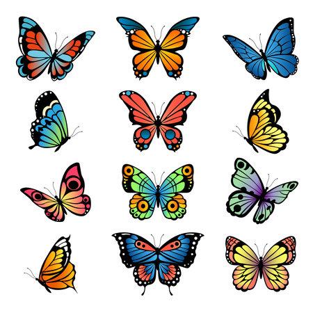 Illustration for Various cartoon butterflies. Set vector illustrations of butterflies - Royalty Free Image