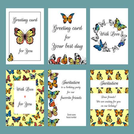 Illustration pour Cards with butterflies. Design template of cards invitation with illustrations of colored butterflies - image libre de droit