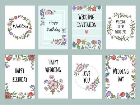 Photo pour Botanic cards with plants. Vector design template of different cards with flowers - image libre de droit