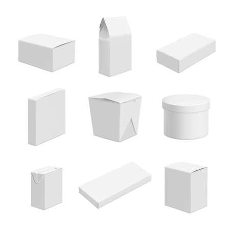 Illustration pour Empty packages. Vector design of various packages of food - image libre de droit
