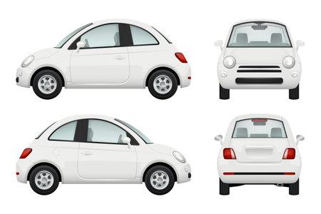 Illustration pour Passenger car. Different view realistic illustrations of cars - image libre de droit