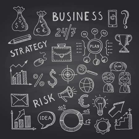 Illustration pour Vector business doodle icons on black chalkboard illustration - image libre de droit