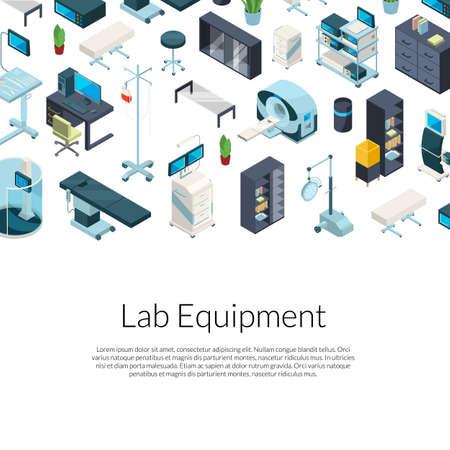 Illustration pour Vector isometric hospital icons background - image libre de droit