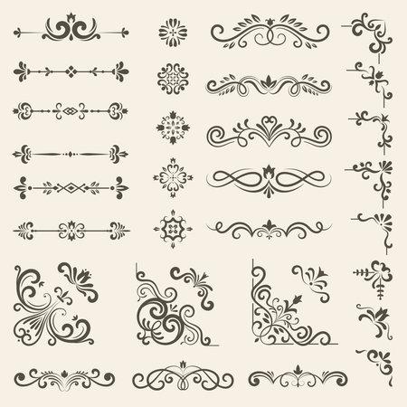 Illustration pour Decorative ornate set. Vintage floral dividers and borders royal premium style decoration vector set - image libre de droit