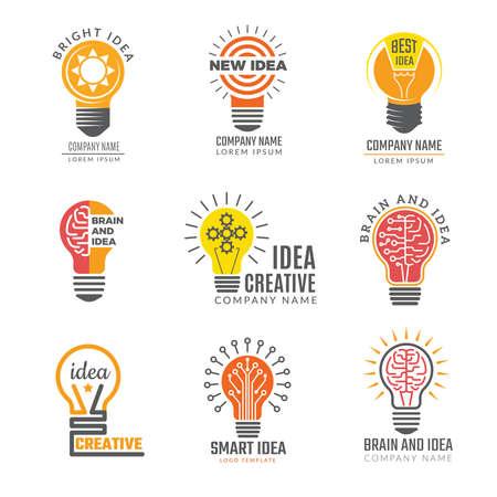 Ilustración de Ideas bulb logotypes. Colorful creative lamp shape smart symbols powerful vector logotypes. Illustration of bulb idea logotype, intelligence brain badge - Imagen libre de derechos