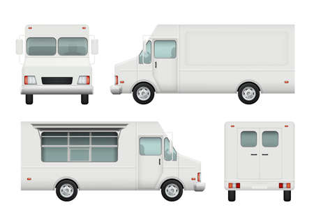 Illustration pour Food truck realistic. White automobile of street food delivery catering 3d vector pictures. Delivery truck food, vehicle car restaurant illustration - image libre de droit
