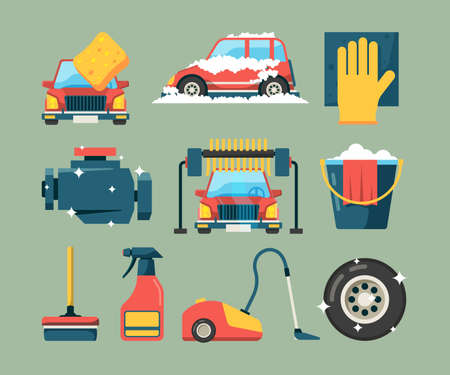 Illustration pour Car wash service. Dirty machines in clean building water bucket wiping sponge vector icons cartoon. Wash car service, clean transport equipment illustration - image libre de droit