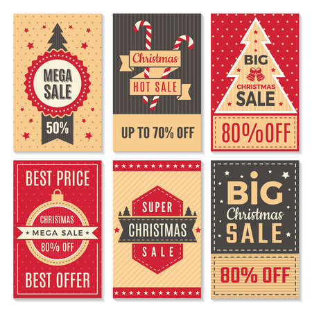 Illustration for Christmas sale banners. New year special offers and discounts deals labels coupon vector template. Poster discount holiday, winter offer illustration - Royalty Free Image