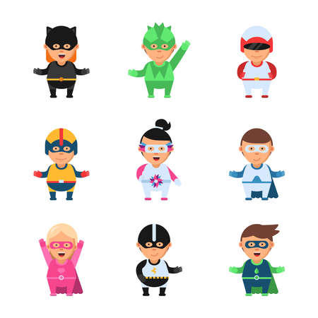 Illustration for Little superheroes. Hero comic cartoon 2d figures of kids in colored mask game toy sprite vector characters isolated. Superhero mask and costume, super hero kids characters illustration - Royalty Free Image