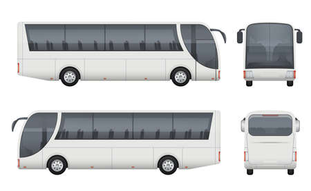 Illustration for Travel bus realistic. Tourism autobus mockup cargo car front side view vector pictures set isolated. Bus auto car, truck passenger illustration - Royalty Free Image