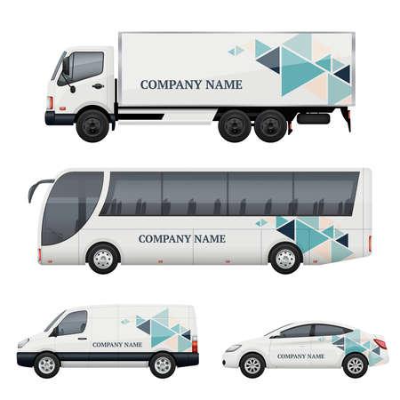 Illustration pour Vehicle branding. Transportation advertizing bus truck van car realistic vector mockup. Illustration of bus and van truck, vehicle car transport - image libre de droit