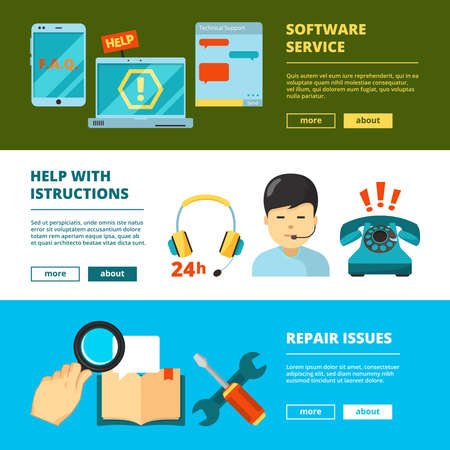 Illustration pour Customer service banners. Technical support online 24h help chat admin consultant in headset vector flat pictures. Illustration of support call and help service - image libre de droit