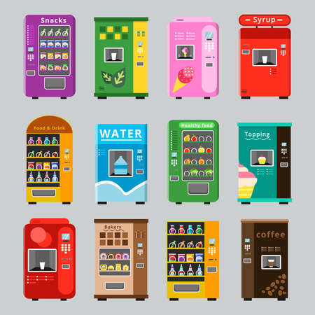 Illustration pour Vending machines collcetion. Merchandise concept with automatic selling various snacks water coffee and crisp food vector pictures. Illustration of retail vending machine with snack food - image libre de droit