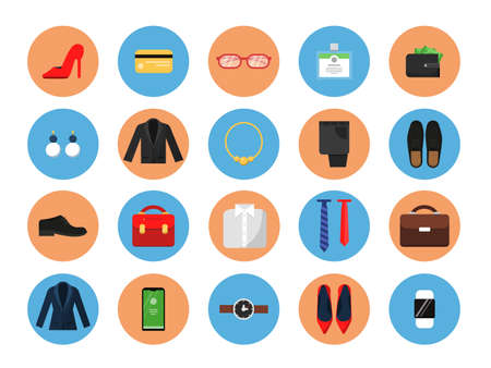 Illustration pour Business wardrobe icons. Office style clothes for male and female work casual fashion skirt suit jacket hat bag vector colored symbols. Male and female business wardrobe colored icons illustration - image libre de droit