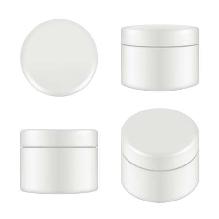 Illustration pour Cosmetic package. Rounded cleaning cream plastic tube box container top and side view vector mockup isolated. Illustration of container cream, plastic box round - image libre de droit