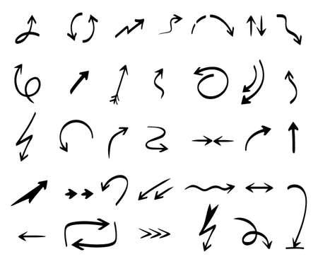 Illustration pour Arrows collection. Hand drawing abstract shapes coordination direction arrows vector series. Arrow curve line doodle, pointer stroke illustration - image libre de droit