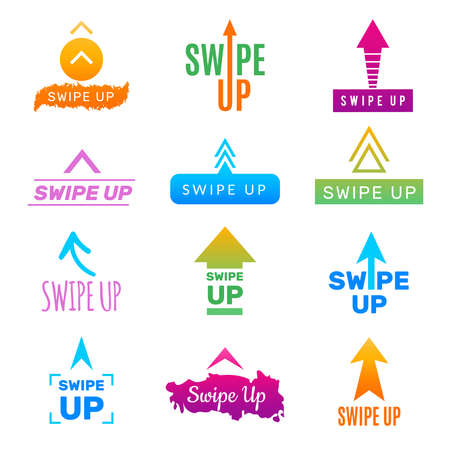 Photo pour Insta swipe up. Ui app design template screen buttons and link for social web project photo blog trendy colors vector picture. Illustration of swipe up for social media - image libre de droit