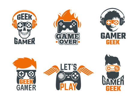 Illustration pour Gamers badges. Joystick video gaming old school labels for smart geek vector template. Logo for game club with joystick controller illustration - image libre de droit