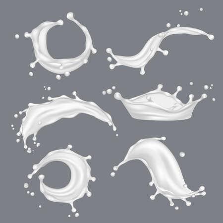 Illustration pour Milk splashes. White drop liquid fresh food from cow vector realistic template. Illustration of milk drink, liquid dairy realistic - image libre de droit