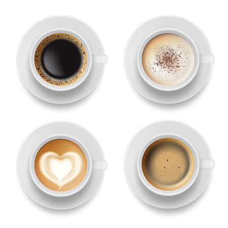Illustration pour Coffee cup top. Hot milk espresso latte breakfast tea time vector realistic template. Illustration of coffee milk drink to breakfast morning - image libre de droit