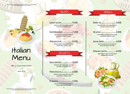 Illustration pour Vector cartoon italian cuisine cafe or restaurant menu template illustration. Restaurant menu banner with meal food - image libre de droit