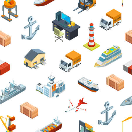 Photo pour Vector isometric marine logistics and seaport pattern or background illustration. Transportation seaport, freight container - image libre de droit