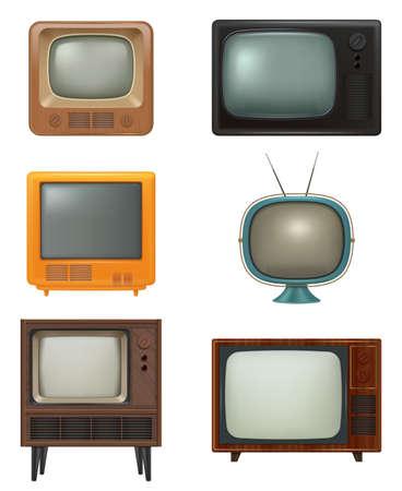 Illustration pour Retro tv. Household items of 80s style realistic electronic tv set news entertainment media movies decent vector pictures set - image libre de droit