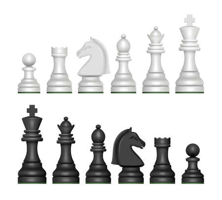 Illustration pour Chess figures. Strategy game symbols pawn horse knights king and queen decent vector realistic pictures - image libre de droit