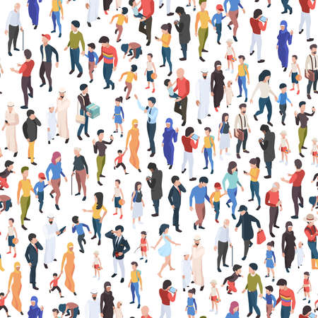 Illustration pour Crowd isometric. Various nationalities and ages male and female persons demographic group garish vector business concept seamless background - image libre de droit