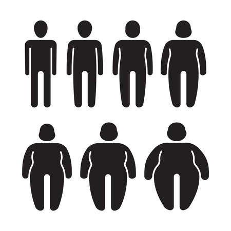 Illustration for Thin and fat. Stylized stick characters people symbols overweight silhouettes tummy male fat person garish vector illustrations isolated - Royalty Free Image