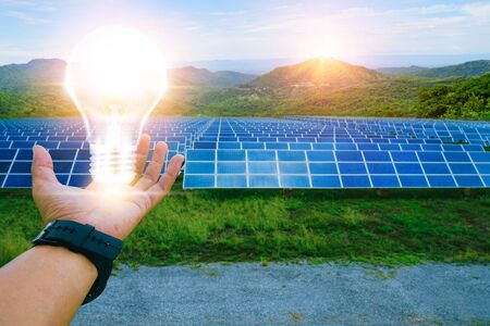 Photo pour Solar panel, alternative electricity source, concept of sustainable resources, This is clean power in the world. - image libre de droit