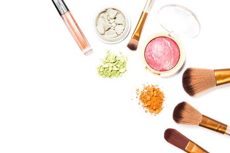 Foto de Cosmetic makeup set ,Eyebrow pencil, lipstick and blush on ,on white background. - Imagen libre de derechos