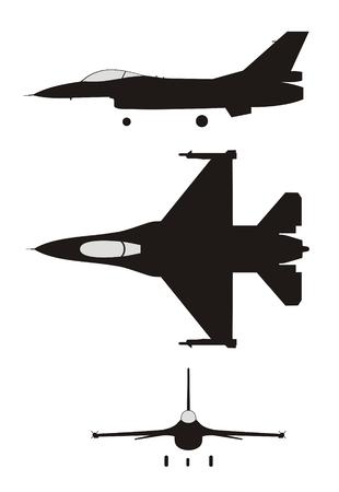 silhouette illustration of jet-fighter F-16