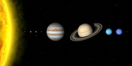 The planets in solar system. Sizes are to scale, but relative distances sre not