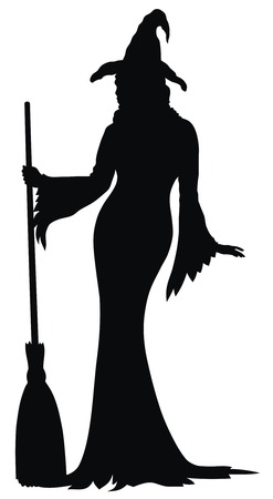 Abstract vector illustration of sexy witch silhouette