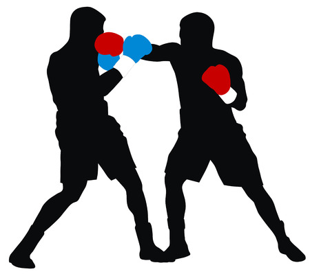 Abstract illustration of boxing men silhouettes