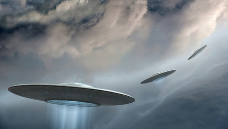 3d render of flying saucers ufo on dramatic clouds background