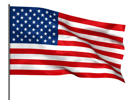 Photo for Waving American flag isolated over white background - Royalty Free Image