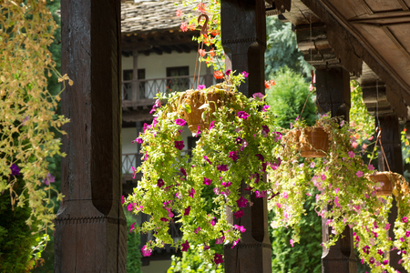 Detail of Monastery with flowers in ceramic pots