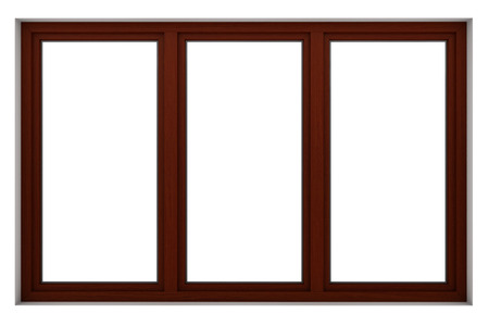 Photo pour 3d render of wooden window frame isolated on white background - image libre de droit