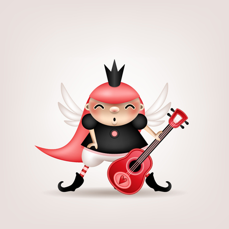 Photo pour Greeting card, invitation for a holiday or a party. Funny little pink-hair girl in a crown with a guitar in hand posing on a light background. Vector illustration. - image libre de droit