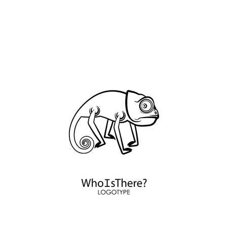 Cartoon character of a southern lizard. Funny cool wary chameleon is posing on a background. Vector illustration. Who is there? The inhabitant of Africa, Madagascar, India, Sri Lanka and others.