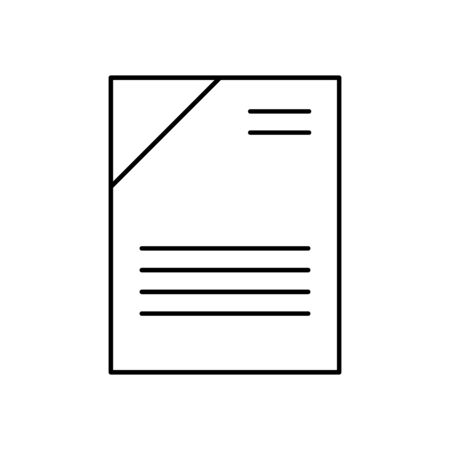 Illustration pour Flat linear design. Office document icon for applications, web sites and business industries. Paper sheets with abstract text. Pile of papers, contract, reporting. - Vector. - image libre de droit