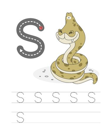 Illustration pour Learning to write a letter - S. A practical sheet from a set of exercises game for kids. Cartoon funny reptile with letter. Spelling the alphabet. Child development and education. Snake - Vector. - image libre de droit