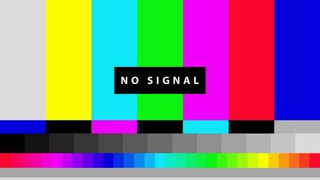 Illustration pour Telecommunication background. No TV signal. Test card of colored stripes. Vector illustration. - image libre de droit